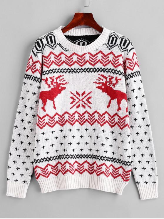 unique Crew Neck Christmas Elk Snowflake Graphic Sweater - WHITE XL