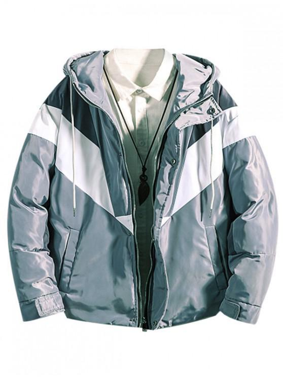 lady Color Blocking Zip Up Hooded Puffer Jacket - PLATINUM XL