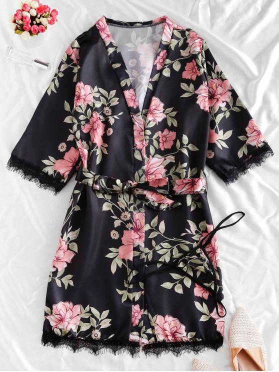 lady Lace Trim Satin Floral Robe Set - BLACK L