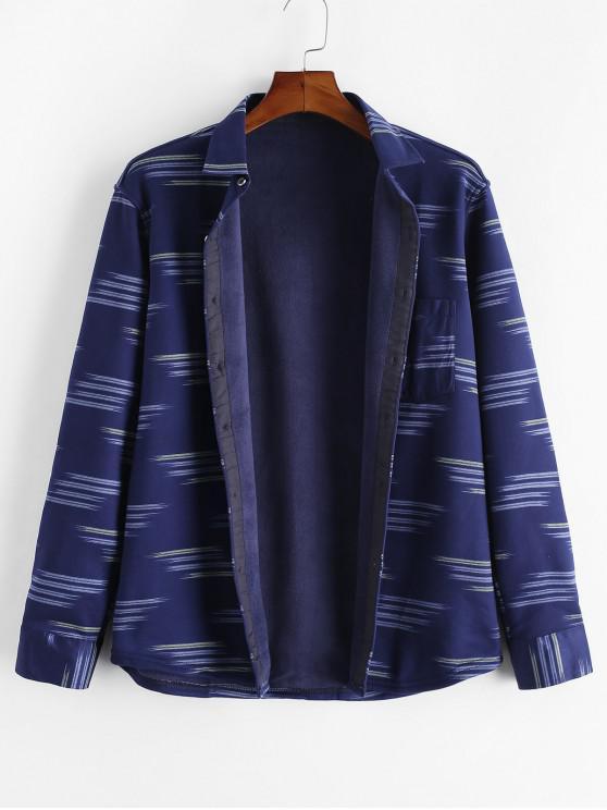 women Striped Print Pocket Button Casual Fleece Shirt - MULTI S