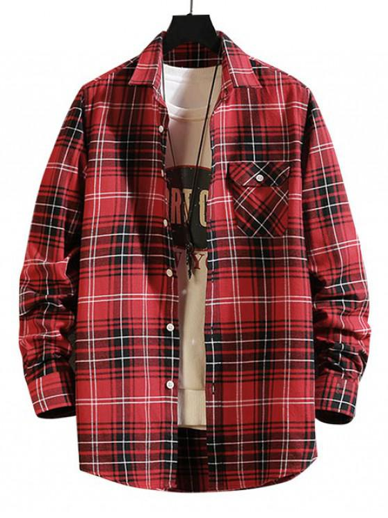 latest Plaid Print Chest Pocket Button Long Sleeve Shirt - RED L