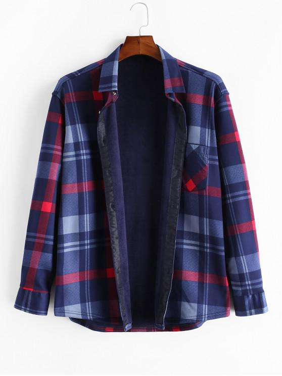 Karierter Druck Taschen Vlies Knopf Hemd - Multi L