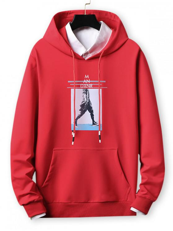 online Letter Striped Character Print Casual Hoodie - RED M