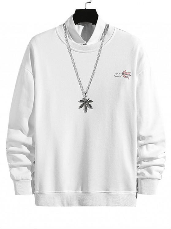 Gato y colgantes de pescado de impresión con cuello redondo de la camiseta - Blanco XS