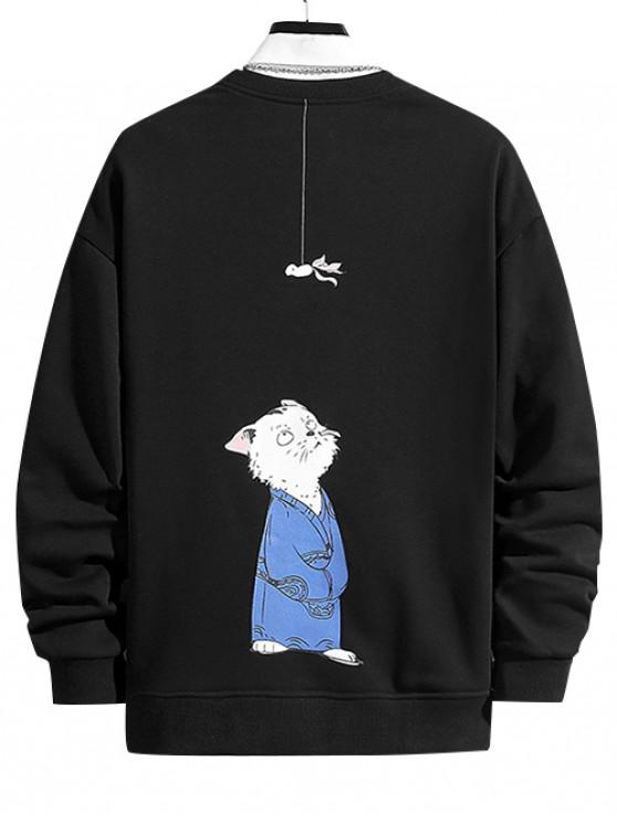 affordable Cartoon Cat and Hanging Fish Print Crew Neck Sweatshirt - BLACK L
