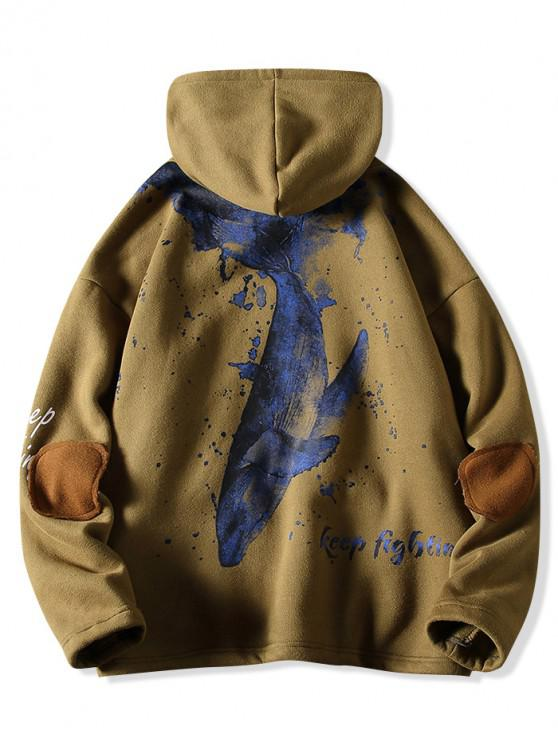 sale Letter Fish Printed Pocket Design Hoodie - ARMY GREEN M
