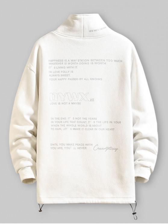 women Letter Graphic Print Fleece Casual Sweatshirt - WHITE L
