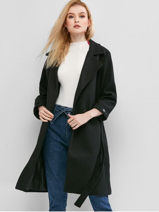 hot Lapel Pocket Wrap Coat - BLACK L