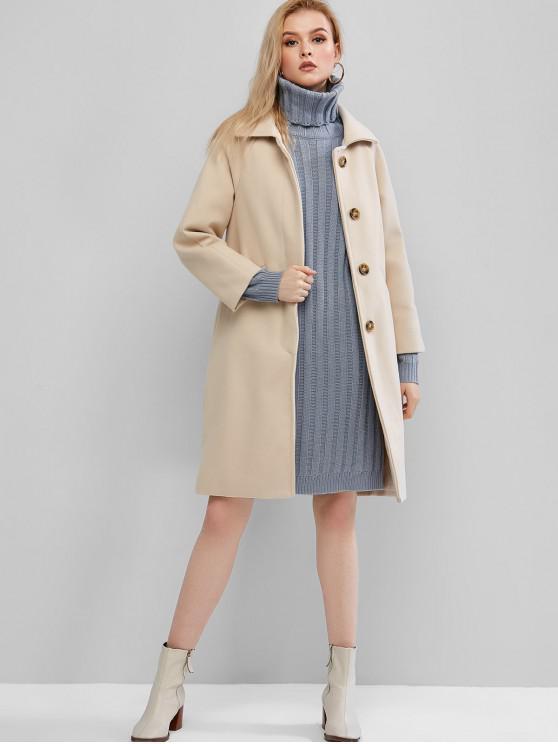 shops Raglan Sleeve Longline Coat - LIGHT KHAKI S