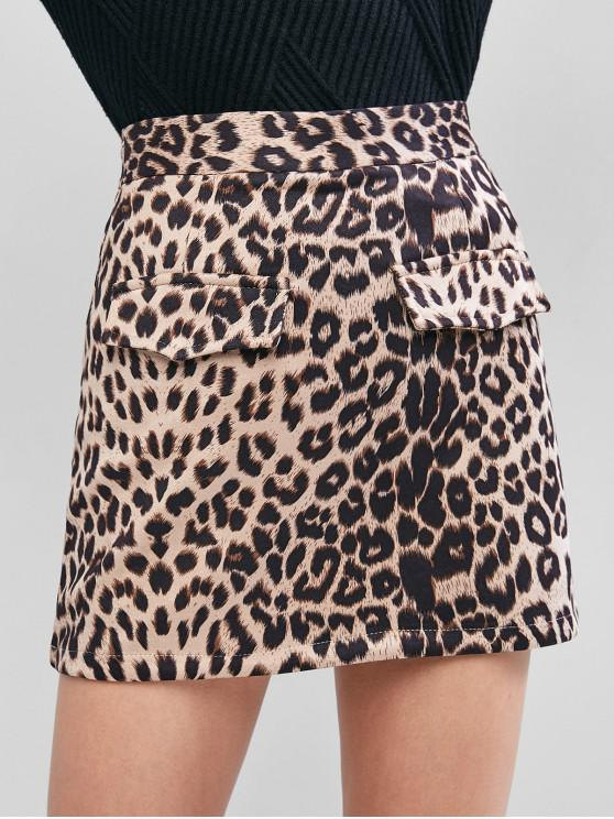 best Mock Pocket Leopard Skirt - LIGHT KHAKI L