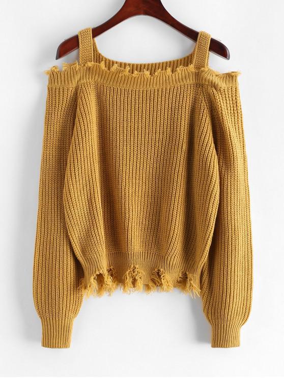 womens ZAFUL Frayed Cold Shoulder Sharkbite Trim Sweater - COOKIE BROWN L