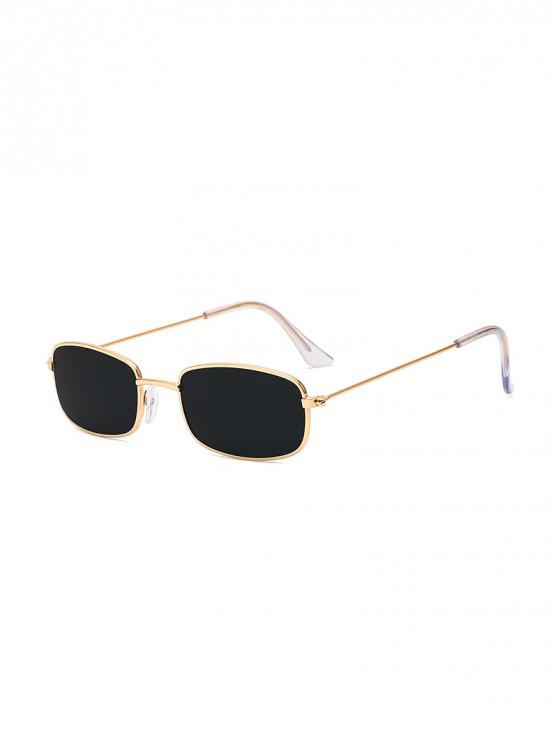 shops Rectangle Metal Lightweight Sunglasses - BLACK