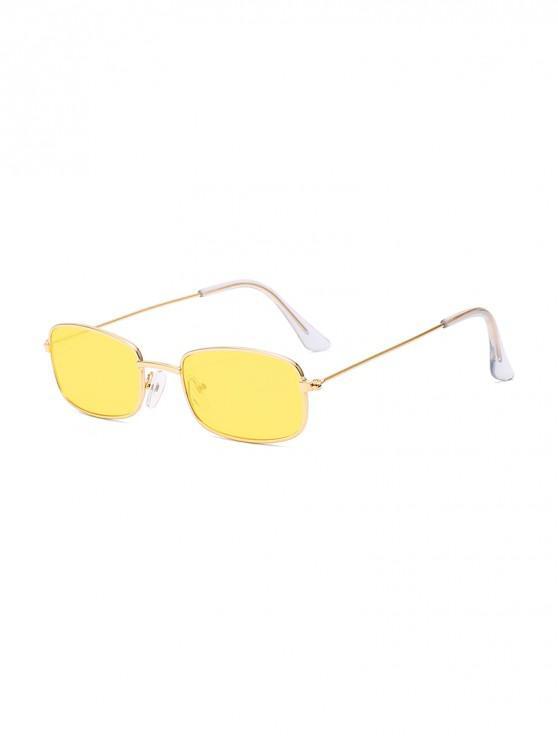 women Rectangle Metal Lightweight Sunglasses - SUN YELLOW