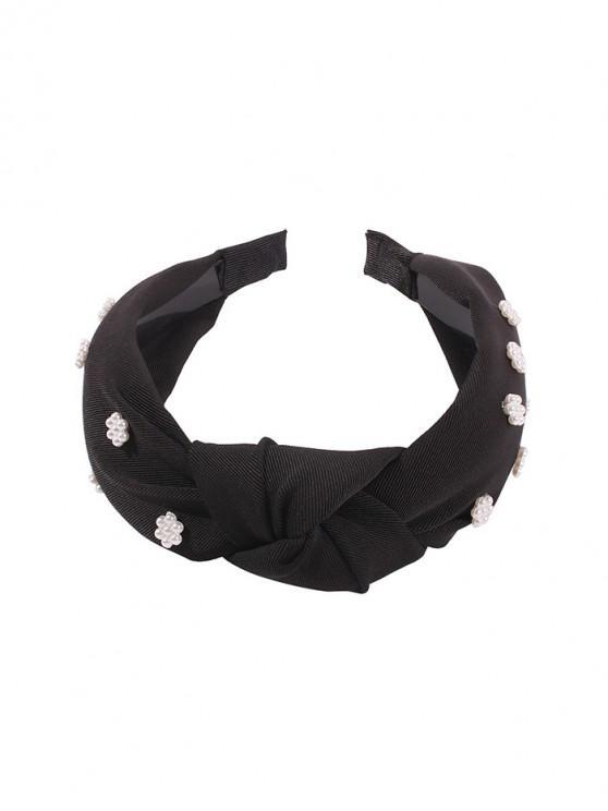 人造珍珠碎花發帶廣 - 黑色