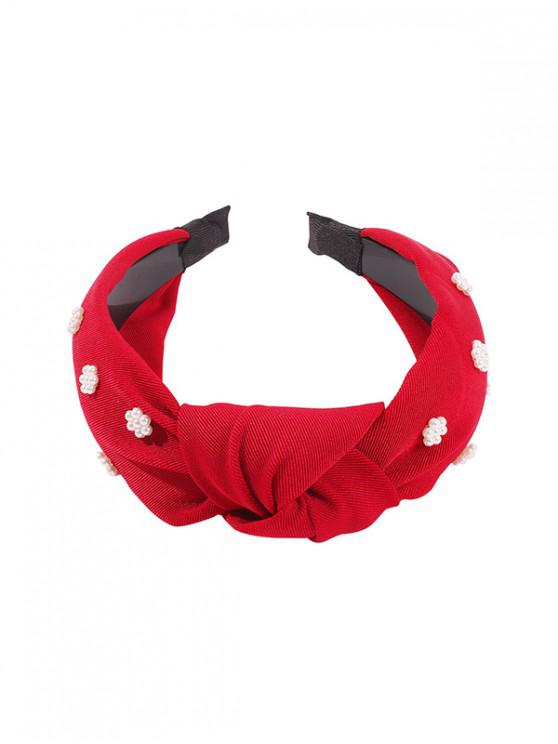 women's Faux Pearl Floral Wide Hairband - RED