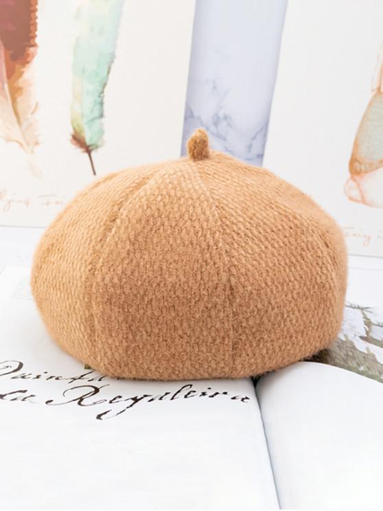 Chapeau Béret Fourré en Couleur Unie Style Japonais - Marron Camel