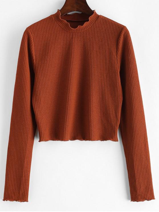 ZAFUL T-shirt Court en Couleur Unie à Ourlet en Laitue - Saumon Orange S