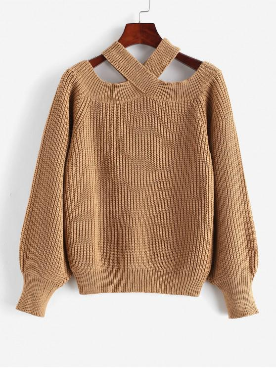 outfit ZAFUL Lantern Sleeves Solid V Neck Sweater - TAN M