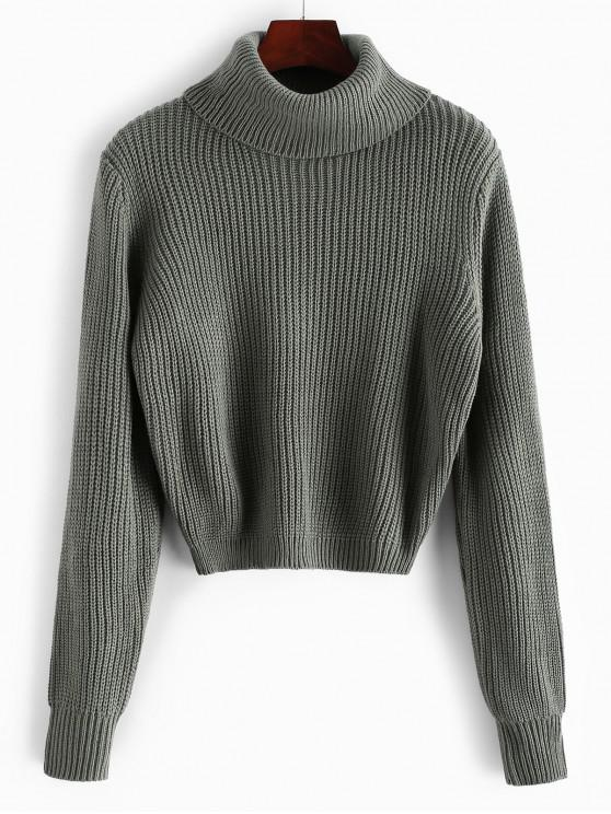 fashion Plain Turtleneck Cropped Pullover Sweater - GRAYISH TURQUOISE L