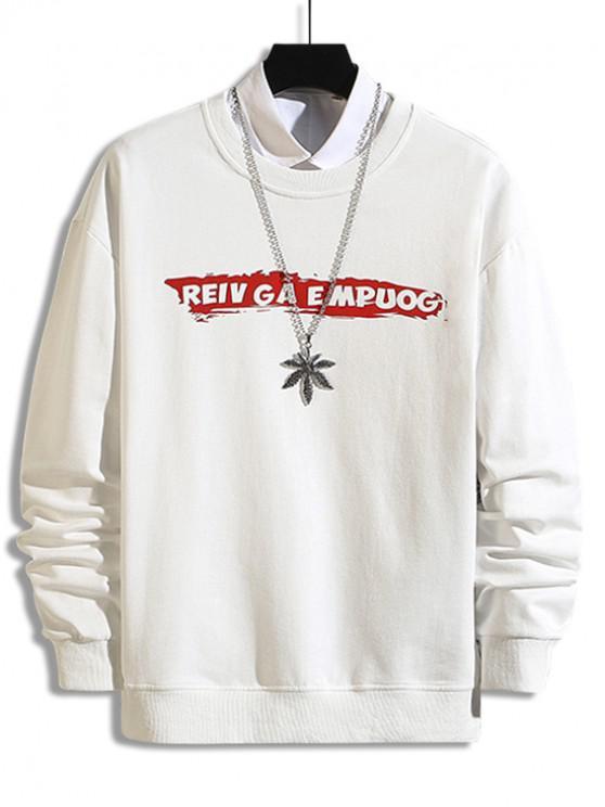Crucea Scrisoare Print Picătură Umăr Sweatshirt - alb XL
