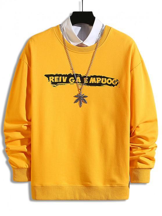 ladies Cross Letter Print Drop Shoulder Sweatshirt - YELLOW M