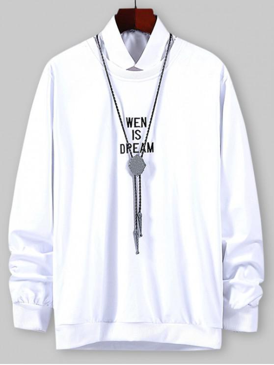 Scrisoare Grafica Brodate Sweatshirt - alb XL