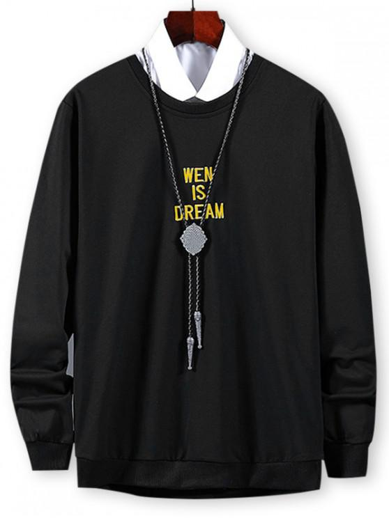 women Letter Graphic Embroidered Sweatshirt - BLACK L