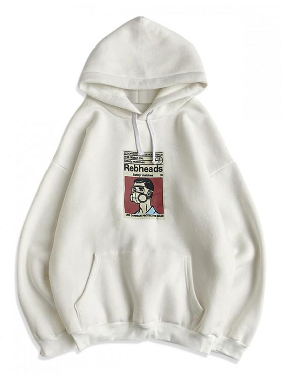 latest Cartoon Graphic Print Casual Hoodie - WHITE XL