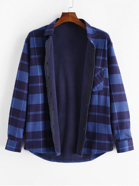 Chequered Print piept de buzunar buton Fleece Shirt - Multi M