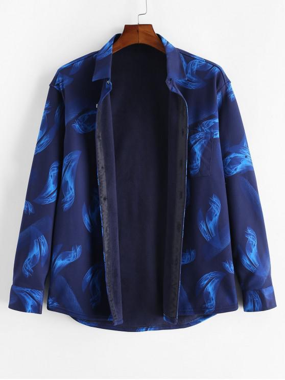 Maneca lunga Flame Print Button Up Fleece Shirt - Multi XS