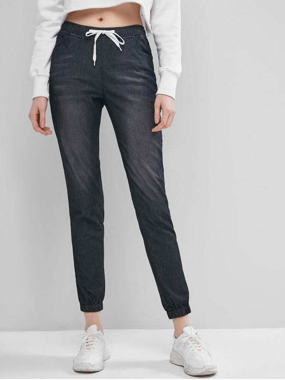 Pantalon de Jogging en Vichy avec Poche à Cordon - Noir S