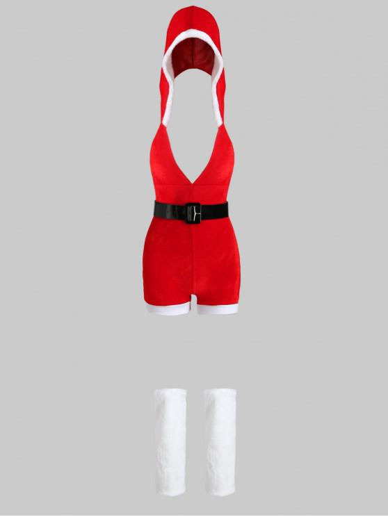 womens Belted Christmas Hooded Romper with Leg Warmers - RED ONE SIZE