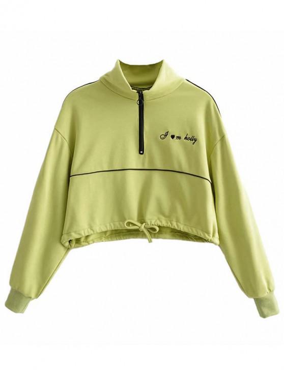 Sweat-shirt Demi-Zip Contrasté Lettre Brodée - Vert Thé M