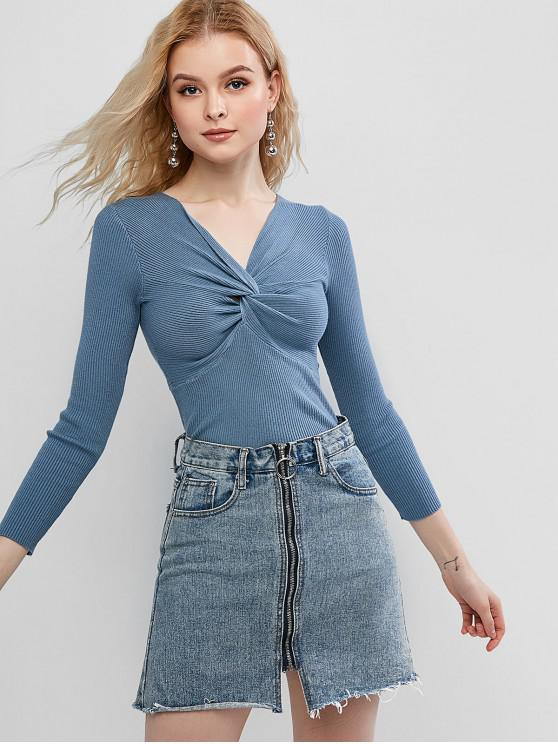 affordable V Neck Twist Front Slim Sweater - BLUE ONE SIZE