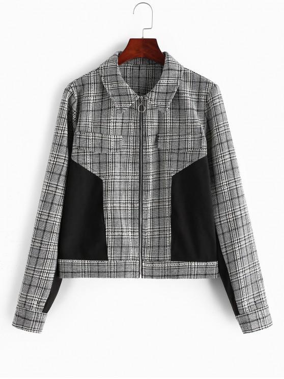 ZAFUL Glen check Contraste Faux bolsos da jaqueta - Multi-A XL