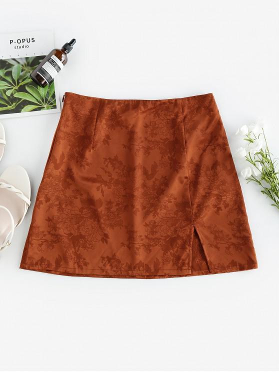 affordable ZAFUL Flower Jacquard Slit A Line Skirt - RED DIRT XL