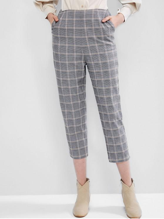shops ZAFUL High Waist Plaid Straight Pants - MULTI-A L