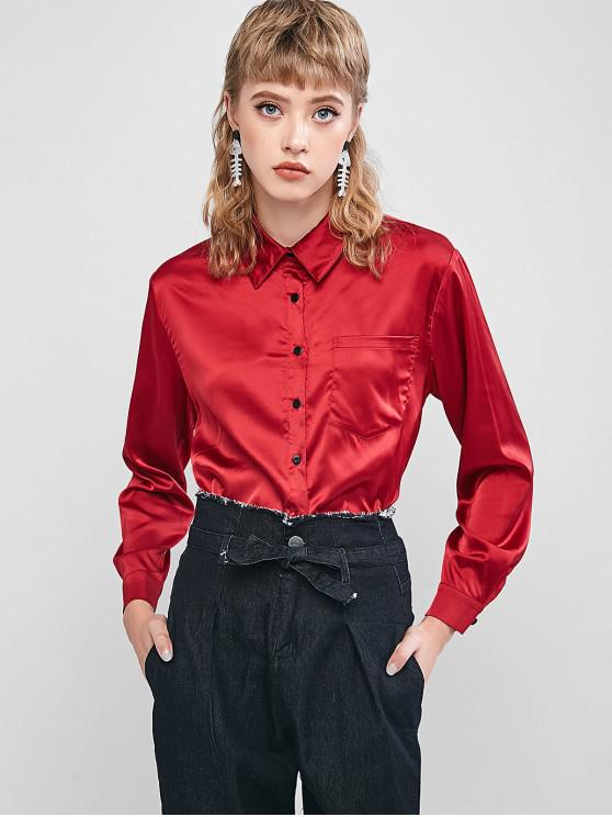 trendy ZAFUL Button Up Satin High Low Shirt - RED WINE S