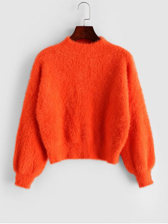 best Mock Neck Drop Shoulder Fuzzy Crop Sweater - ORANGE ONE SIZE