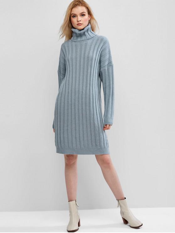 buy ZAFUL Ribbed Turtleneck Drop Shoulder Sweater Dress - DENIM BLUE L