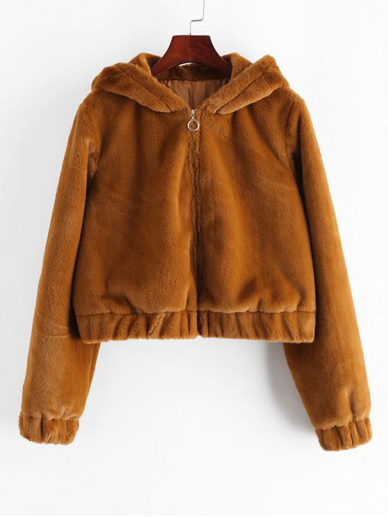 best ZAFUL Faux Fur Hooded Zip Crop Coat - BROWN BEAR M