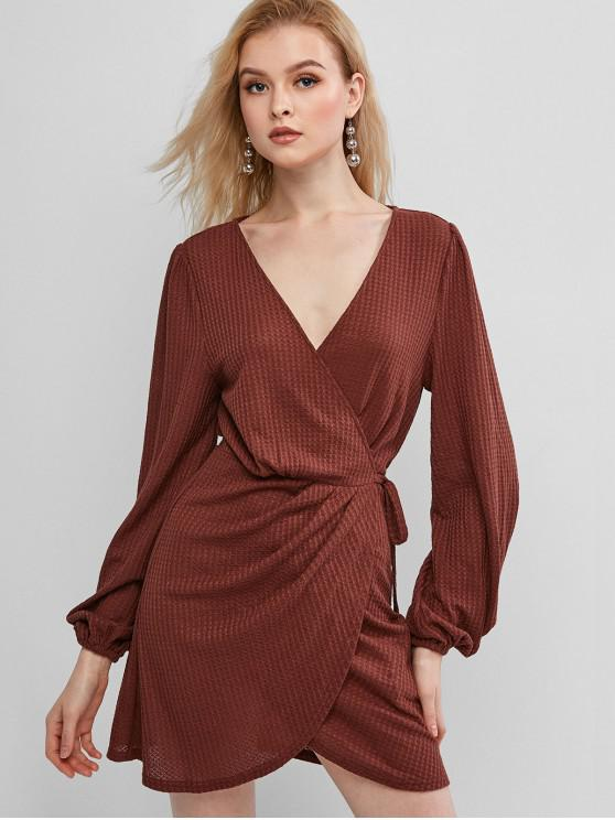 hot ZAFUL Draped Solid Wrap Knit Dress - SEPIA XL