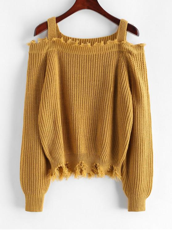 latest ZAFUL Frayed Cold Shoulder Sharkbite Trim Sweater - COOKIE BROWN M
