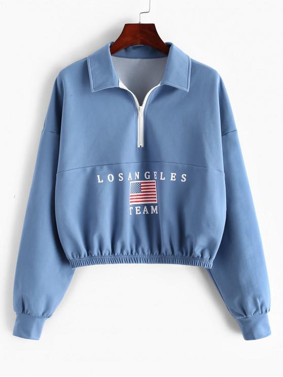 shops ZAFUL American Flag Letter Half Zip Sweatshirt - BLUE KOI M