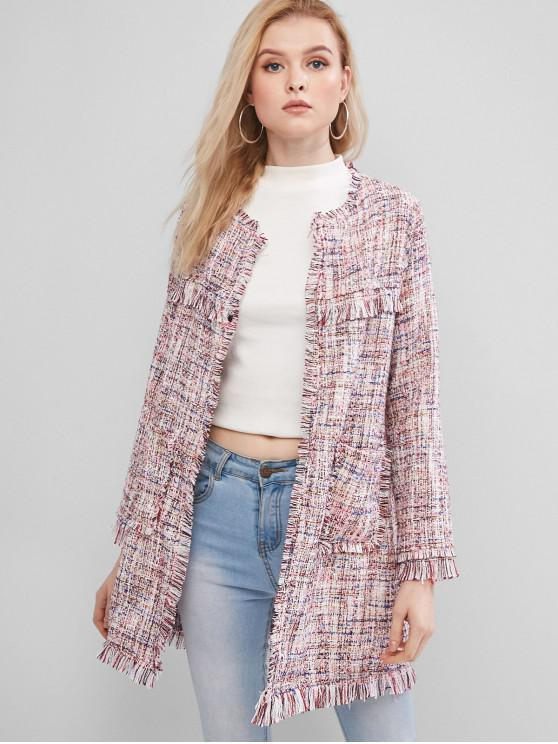 Ausgefranste Taschen Offener Tunika Tweed Mantel - Rosa S