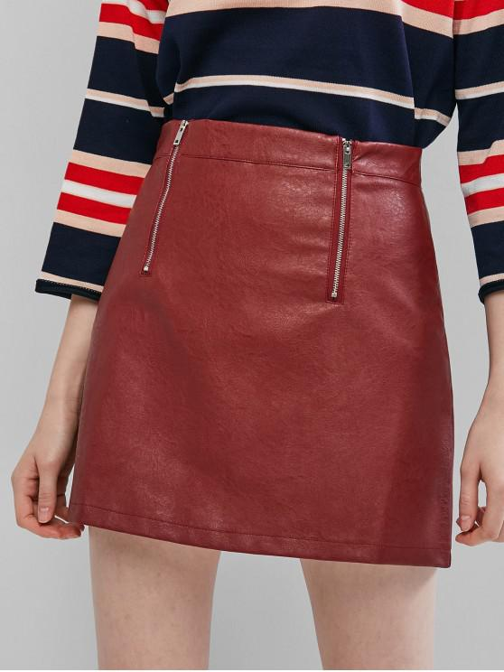 chic Dual Zip Faux Leather Skirt - RED WINE L