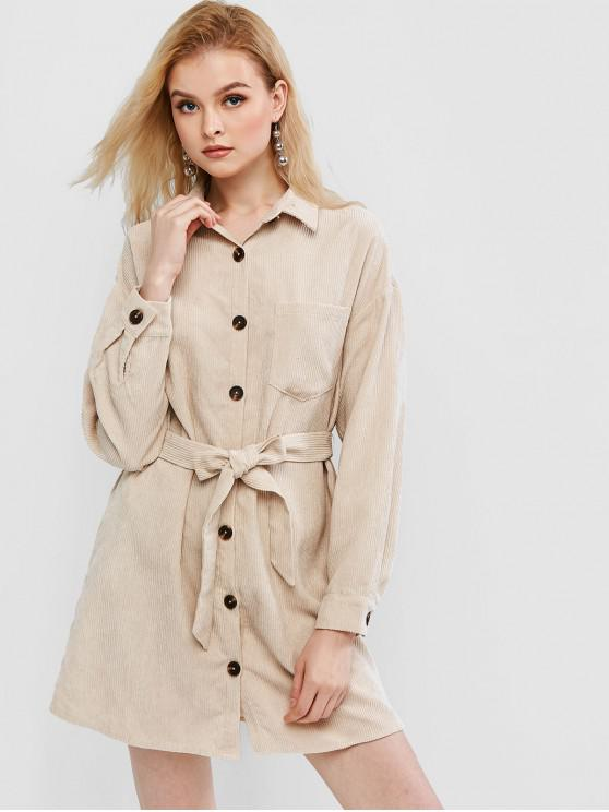 best ZAFUL Corduroy Belt Shirt Dress - BEIGE L