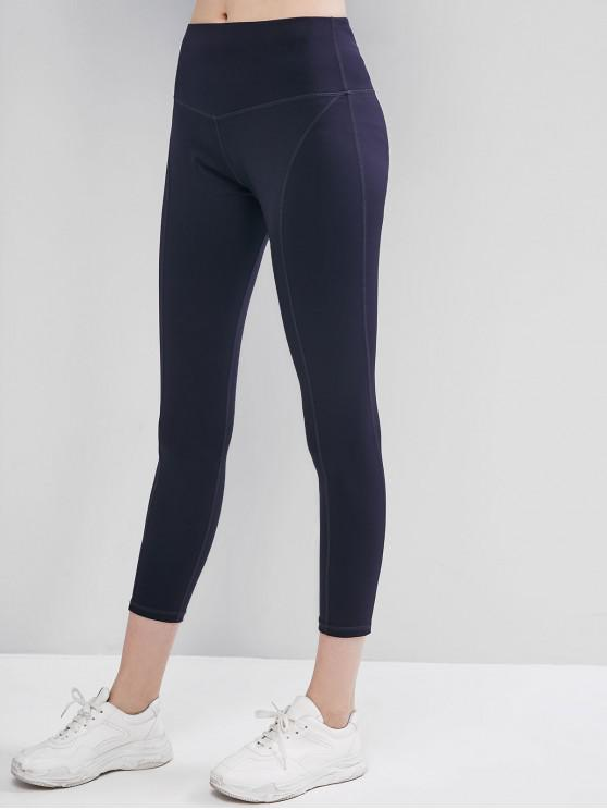womens Stitching Mid Rise Sports Yoga Leggings - BLACK L