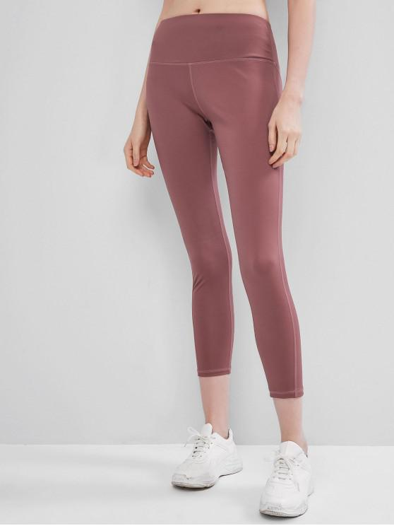 outfit Stitching Mid Rise Sports Yoga Leggings - LIPSTICK PINK L