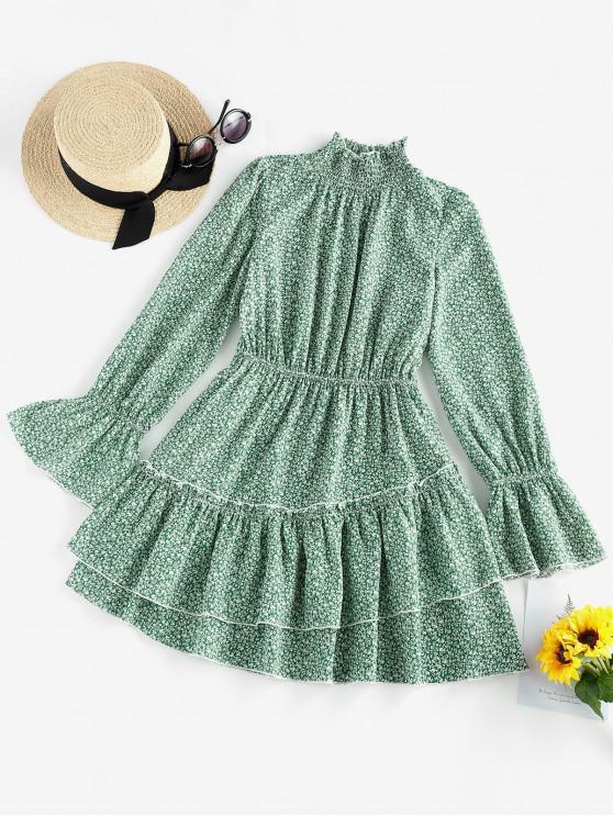 online ZAFUL Ditsy Print Ruffle Neck Bell Sleeve Dress - GREENISH BLUE XL